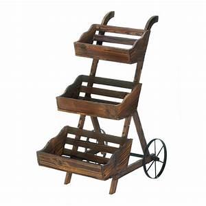 rustic, plant, stand, , wooden, 3-tier, decorative, floor, plant, stand, indoor, outdoor