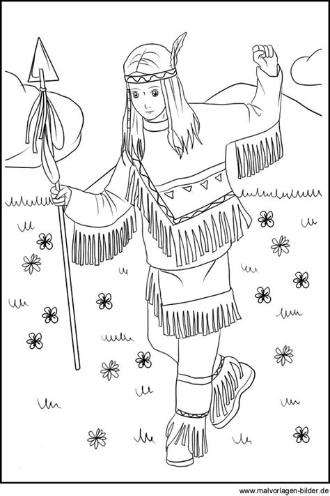 zeichnung von einem indianer maedchen als gratis vorlage
