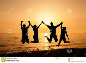 Four Friends Jumping On The Beach Stock Photo - Image of ...