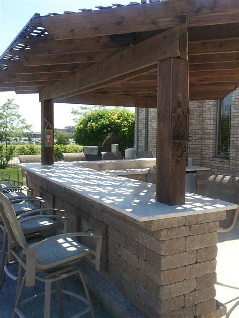 Patio Bar by A Pergola Is A Great Way To Add Shade To Your Outdoor