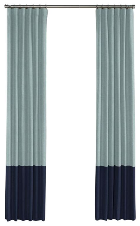 muted aqua and navy linen color block curtain single