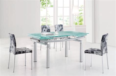 glass top modern dining table wextension leaf options