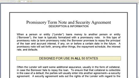 Promissory Term Note And Security Agreement