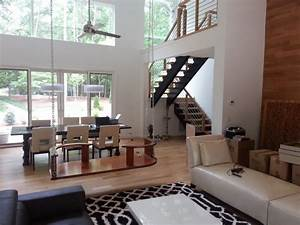 Open, Concept, Floor, Plan, With, Floating, Staircase