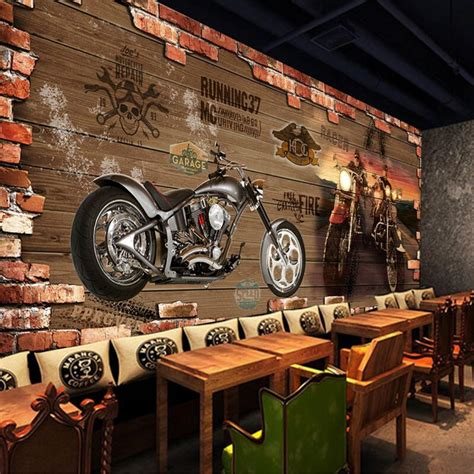 custom photo silk  wallpaper  walls   club harley