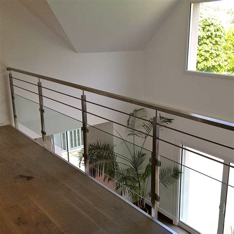 re en verre interieur balustrade int 233 rieure verre et barres pose anglaise inoxdesign