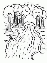 Coloring River Printable Trees Colouring Sheets Camping Kindergarten Rivers Nature Preschool Printables Children Animals Clouds sketch template