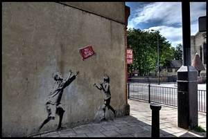 graffiti walls: Political Art of Banksy Graffiti, London UK
