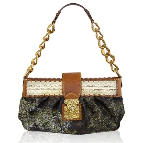 louis vuitton monogram dentelle kirsten gold chain bag