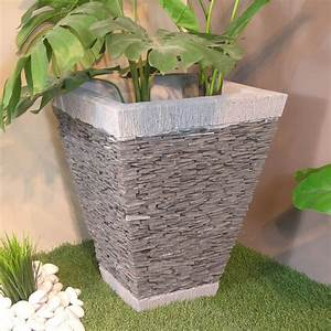 Jardinière En Hauteur : pot de jardin en ardoise carr naturel h 50 cm ~ Nature-et-papiers.com Idées de Décoration