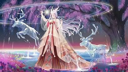 Anime Goddess Ice Tree Giant Horns Deers