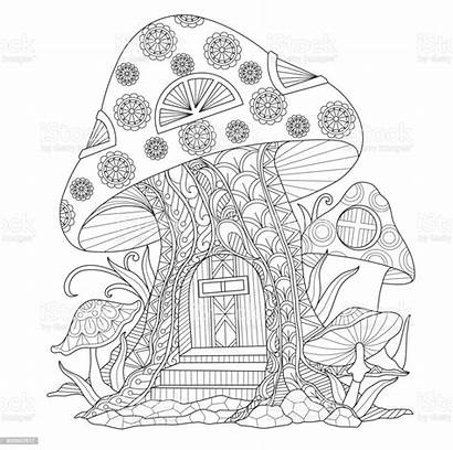 Coloring Mushroom Pages Adult Adults Drawn Mushrooms