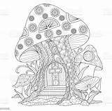 Coloring Mushroom Adult Fairy Hand Drawn Zentangle Vector Pages Mushrooms Abstract Colouring Garden Tattoo Line Illustrations Shutterstock Illustration Isolated Houses sketch template
