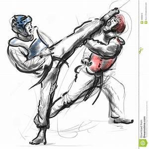 Tae Kwon Do Un Ejemplo Dibujado Mano Del Mismo Tamaño Ilustración del Vector Imagen: 43686872