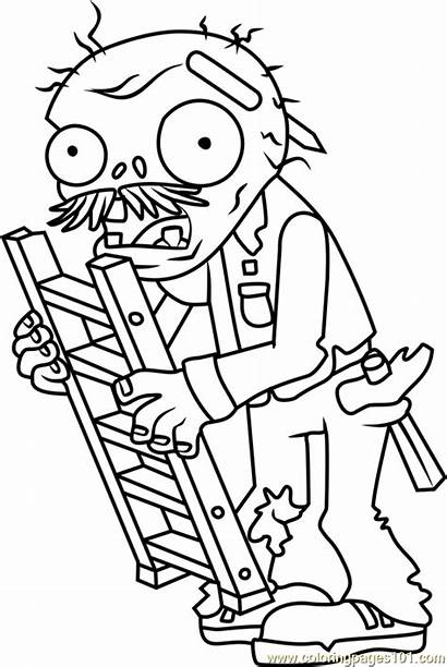 Zombies Plants Coloring Pages Zombie Ladder Warfare