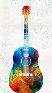 Colorful Guitar Art By Sharon Cummings Painting by Sharon