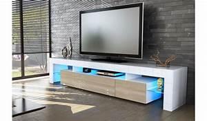 Meuble Tv Led Blanc Laqué : meuble tv laque blanc et chene meuble tv metal gris trendsetter ~ Teatrodelosmanantiales.com Idées de Décoration