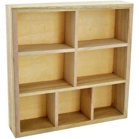 wood wooden craft storage unit floating wall cube display shelf  compartment ebay