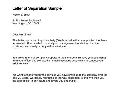 letter  separation