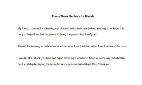 Funny Thank You Note – 8+ Free Word, Excel, PDF Format