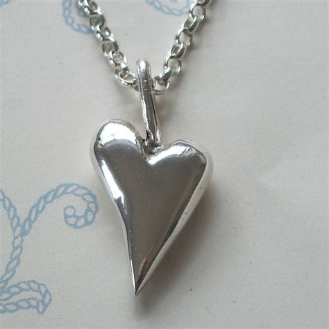 medium solid silver heart pendant by cathy newell price