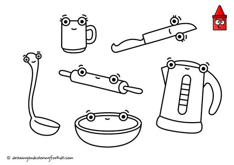 Coloring Utensil by Drawing Kitchen Utensils Coloring Page Kitchen Kitchen