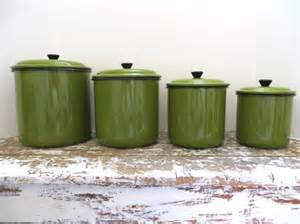 vintage metal kitchen canister sets vintage green enamel canister set metal canister kitchen