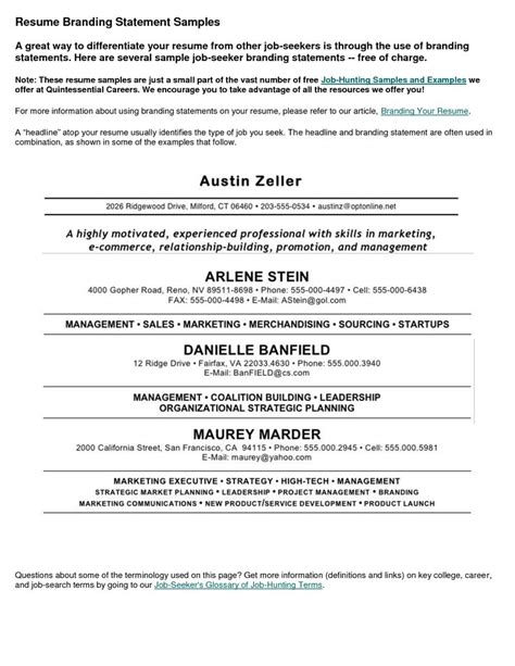 14815 resume personal logo best 25 personal brand statement exles ideas on