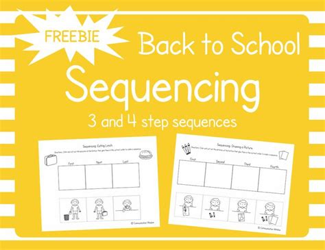 back to school sequencing cut and glue freebie slp story