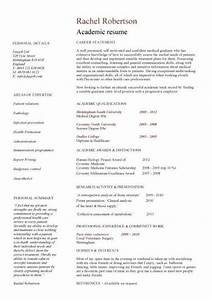 Academic cv template curriculum vitae academic cvs for Academic cv template