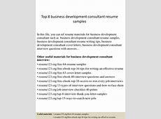 Top 8 business development consultant resume samples
