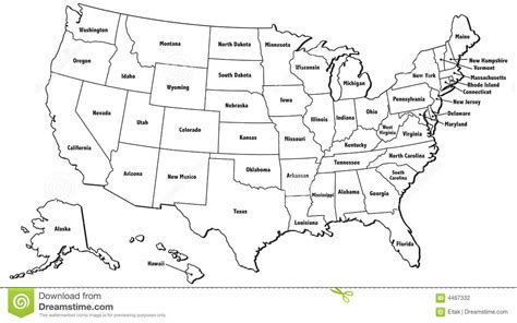 usa map with states only united states map outline 4467332