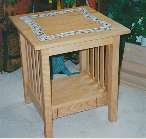 handmade tile top coffee table and end table by kinderling