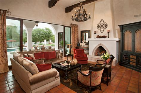 Spanish Colonial Remodel-mediterranean-living Room