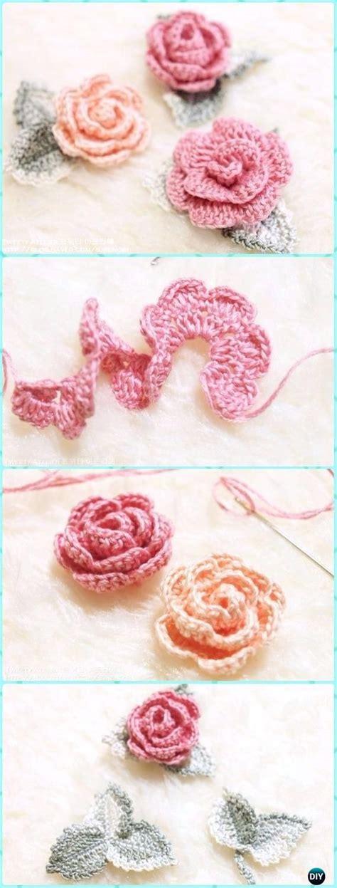 Crochet Rose Flower With Leaf Free Pattern Knitting