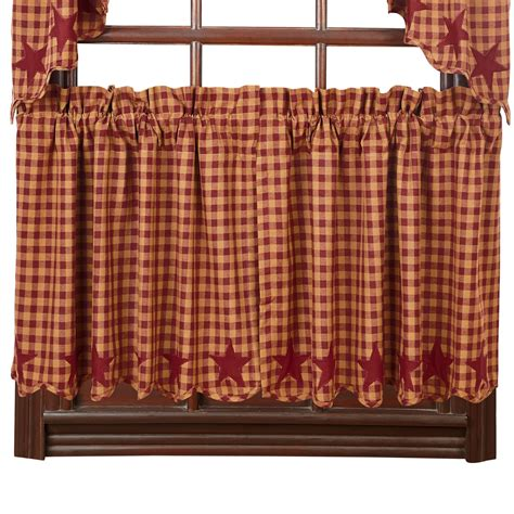 Country Drapes - and check scalloped country curtain tiers navy black