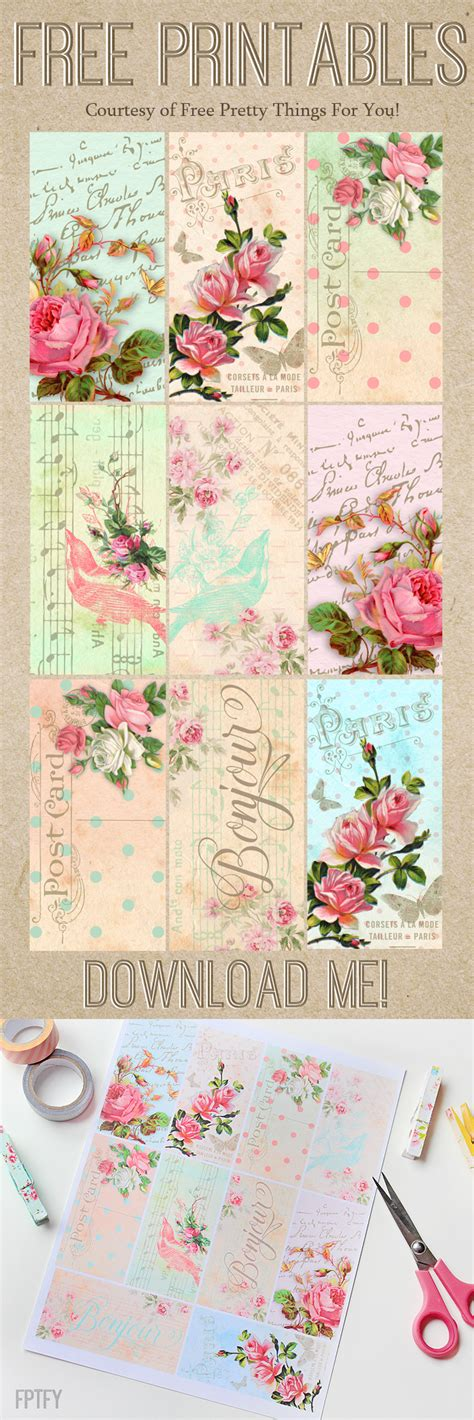 parisian romantic scrapbook printables  pretty