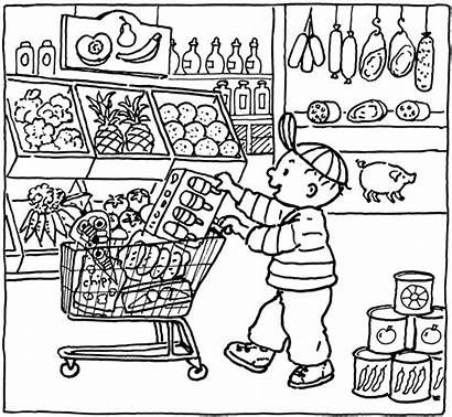 Coloring Grocery Pages Market Printable Kleurplaat Shopping