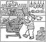 Coloring Grocery Pages Market Printable Kleurplaat Supermarket Colouring Shopping Sheets Supermarkt Thema Getcolorings Kleurplaten Getdrawings Books Super Colorings Popular Vile sketch template
