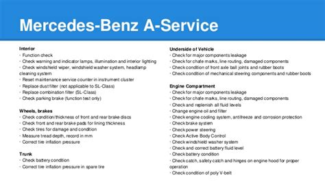 Regular oil changes, fluid replacements and parts mercedes b service checklist: Mercedes Benz A-Service and B-Service