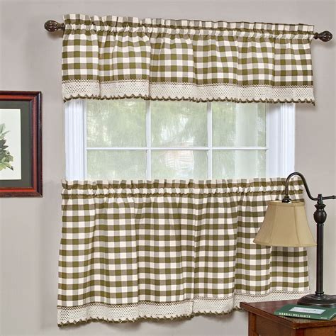 Buffalo Check Taupe Gingham Kitchen Curtain Window