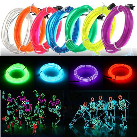 neon christmas lights 3m led el wire neon glow light rope 12v for alexnld