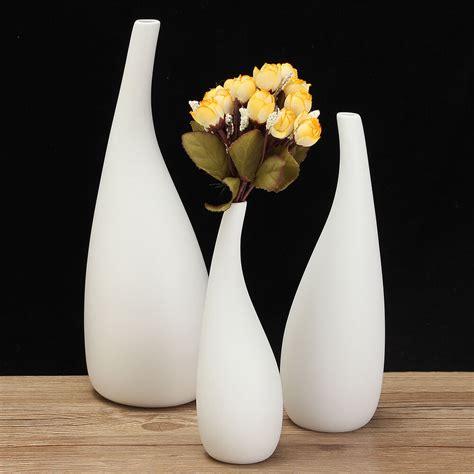 Decor Vase by 3 Sizes Modern Streamline Ceramic Vase White Flower