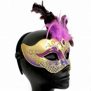Purple & Gold Masquerade Mask with Purple Feathers Pk 1