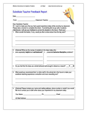 free substitute teacher forms training feedback form for employees templates fillable