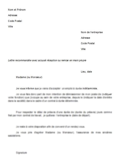modele de lettre de demission cdd mod 232 le de lettre lettre de d 233 mission cdd pour poste en cdi