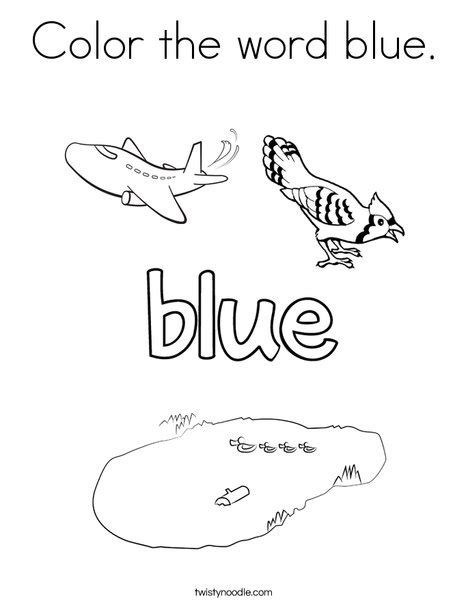 color  word blue coloring page twisty noodle