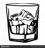 Glass Vector Whisky Ice Vaso Scotch Hielo Whiskey Alcohol Ilustracion Cz Email Vectorified sketch template