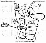 Cartoon Fly Kill Try Clipart Swatters Illustration Using Toonaday Royalty Lineart Vector Clip sketch template
