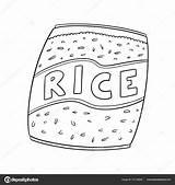 Rice Arroz Colorear Bolsas Imagen Dibujar Imagenes Coloring Credit sketch template